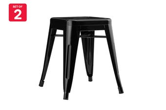 Matt Blatt Set of 2 Xavier Pauchard Tolix Stool 45cm - Powder Coated - Replica (Black)