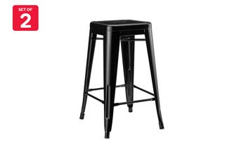 Matt Blatt Set of 2 Xavier Pauchard Tolix Stool 65cm - Powder Coated - Replica (Black)