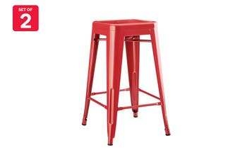 Matt Blatt Set of 2 Xavier Pauchard Tolix Stool 65cm - Powder Coated - Replica (Red)