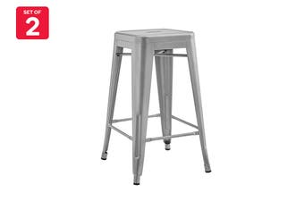 Matt Blatt Set of 2 Xavier Pauchard Tolix Stool 65cm - Powder Coated - Replica (Silver)