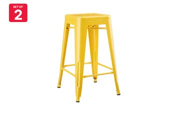 Matt Blatt Set of 2 Xavier Pauchard Tolix Stool 65cm - Powder Coated - Replica (Yellow)