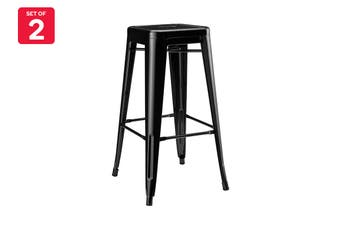 Matt Blatt Set of 2 Xavier Pauchard Tolix Stool 75cm - Powder Coated - Replica (Black)