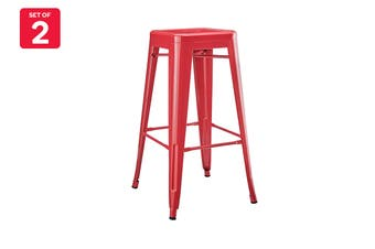 Matt Blatt Set of 2 Xavier Pauchard Tolix Stool 75cm - Powder Coated - Replica (Red)