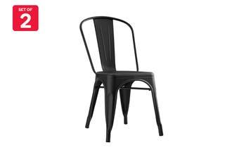 Matt Blatt Set of 2 Xavier Pauchard Tolix Chair - Powder Coated - Replica (Matte Black)