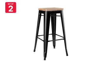 Matt Blatt Set of 2 Xavier Pauchard Tolix Stool 65cm - Ash Seat - Replica (Black With Wooden Seat)
