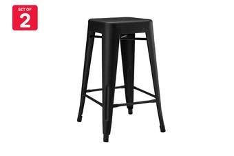 Matt Blatt Set of 2 Xavier Pauchard Tolix Stool 65cm - Powder Coated - Replica (Matte Black)