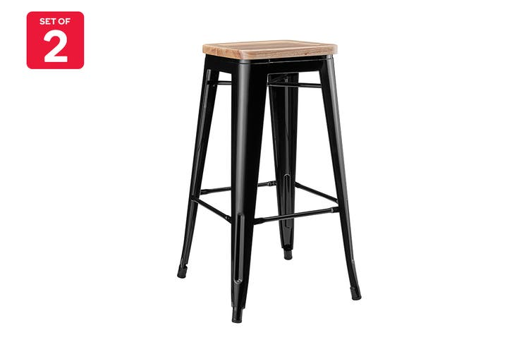 Matt Blatt Set of 2 Xavier Pauchard Tolix Stool 75cm - Ash Seat - Replica (Black With Wooden Seat)