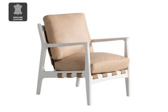 Matt Blatt United Strangers At Ease Armchair (Chalk White, Sahara Tan Leather)