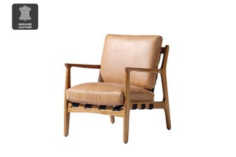Matt Blatt United Strangers At Ease Armchair (Natural, Texan Light Brown Leather)