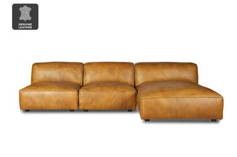 Matt Blatt United Strangers Brownsville Sofa with Chaise (Light Brown Leather)