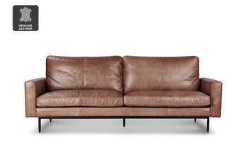 Matt Blatt United Strangers Slim Jim 3 Seater Sofa (Texan Medium Brown Leather)