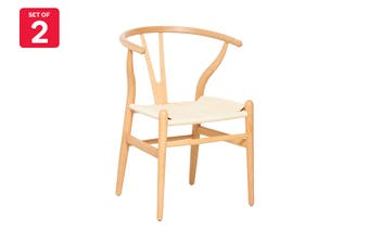 Matt Blatt Set of 2 Hans Wegner Wishbone Chair Replica (Oak Wood, Natural Beige)
