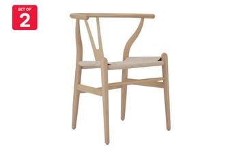 Matt Blatt Set of 2 Hans Wegner Wishbone Chair Replica (Beech Wood, Natural Beige)