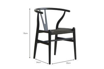 Matt Blatt Set of 2 Hans Wegner Wishbone Chair Replica (Oak Wood, Black)