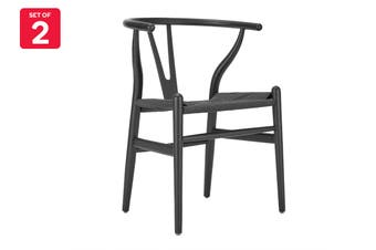 Matt Blatt Set of 2 Hans Wegner Wishbone Chair Replica (Oak Wood, Black)