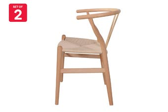 Matt Blatt Set of 2 Hans Wegner Wishbone Chair Replica (Oak Wood, Natural)