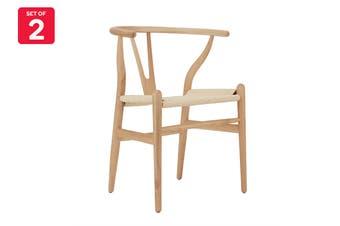 Matt Blatt Set of 2 Hans Wegner Wishbone Chair Replica (Oak Wood, Natural)