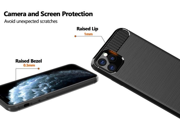 Carbon Fibre Design Soft TPU Case for iPhone 11 Pro Max (Navy)