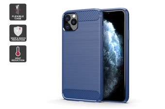 Carbon Fibre Design Soft TPU Case for iPhone 11 Pro (Navy)