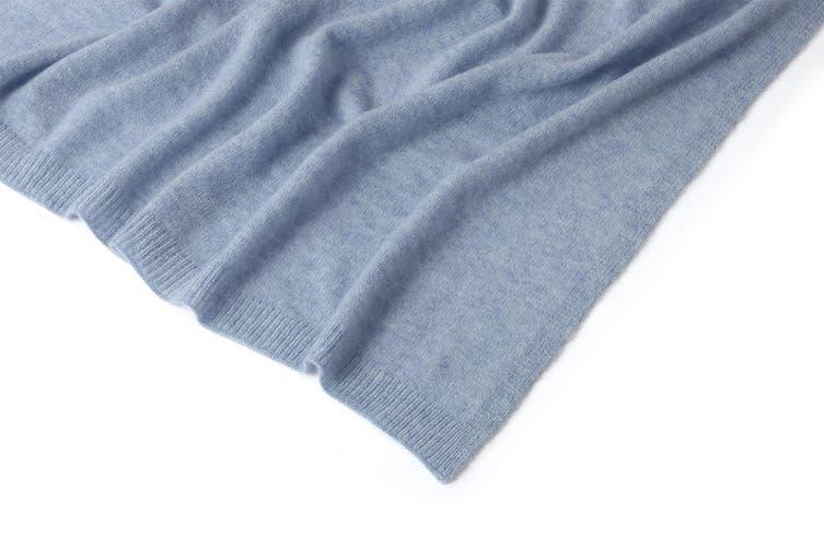 100% Mongolian Cashmere Wrap (200 x 75cm, Blue Melange)