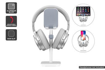 Aluminium Alloy Headphone Stand with Phone & Tablet Holder (Silver)