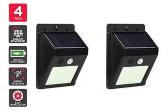 Solar Powered Wall Mounted Motion Sensor LED Light (Black, Vasto) - 4 Pack