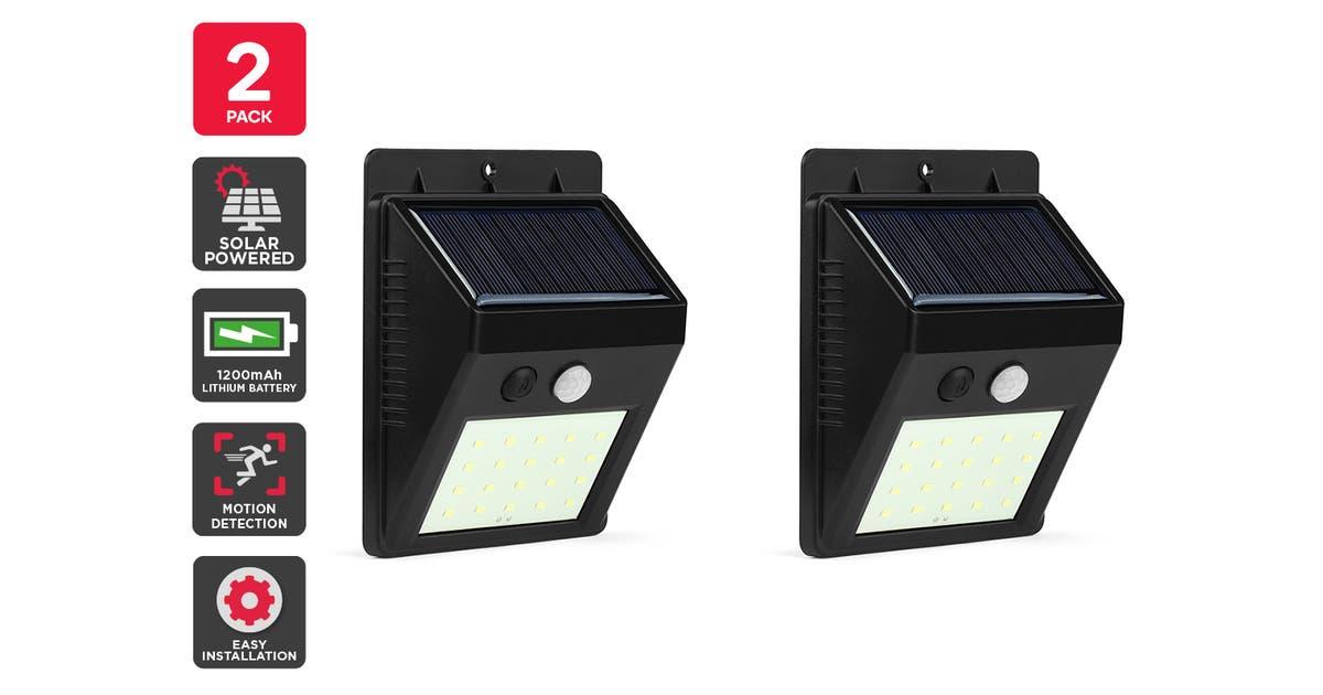Solar Powered Wall Mounted Motion Sensor Led Light Black Vasto 2 Pack Matt Blatt