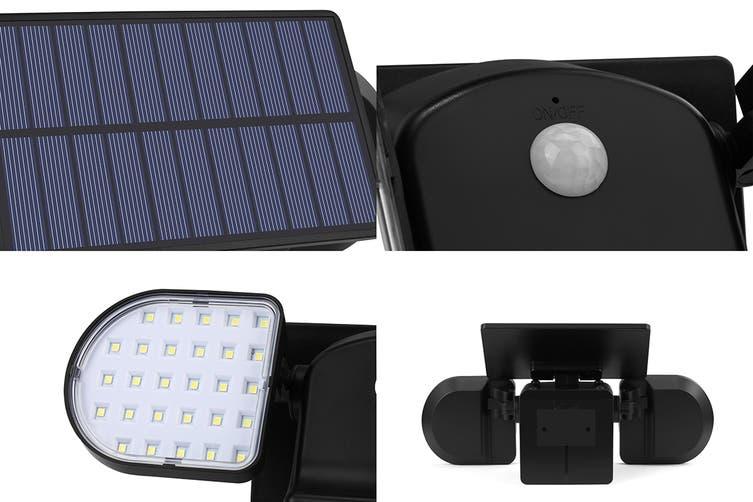 Solar Powered Motion Sensor Dual Head LED Flood Light (2000mAh)