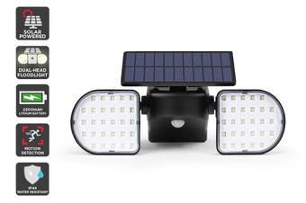 Solar Powered Motion Sensor Dual Head LED Flood Light (2000mAh)