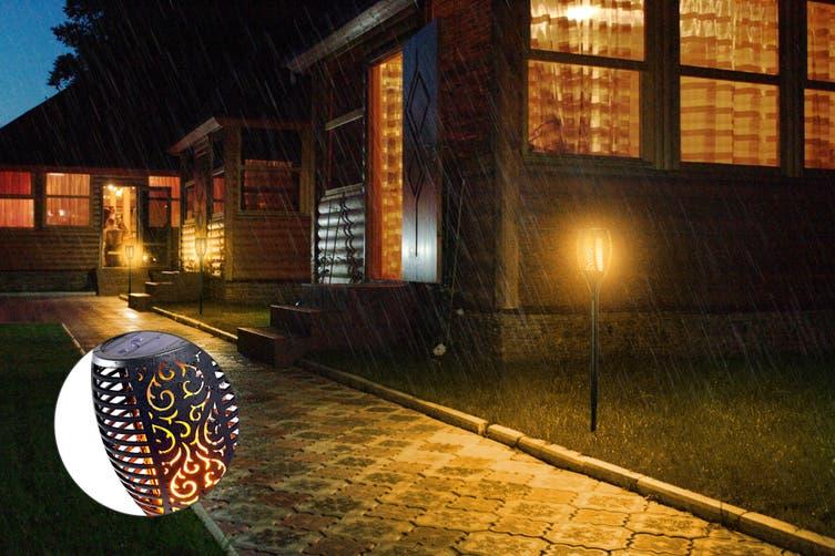 Solar Powered Flickering Garden Path LED Light (4 Pack)