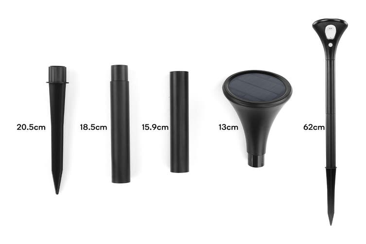 Solar Powered Motion Sensor High Power LED Garden Light (Black, Lorica) - 2 Pack