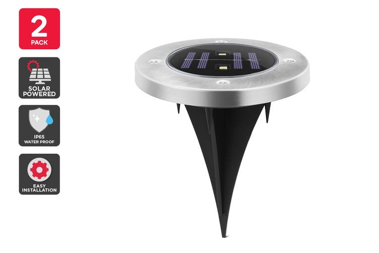 Solar Powered Recessed LED Light - 2 Pack