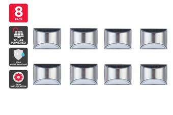 Solar Powered Wall Mounted LED Light (Silver, Teramo) - 8 Pack