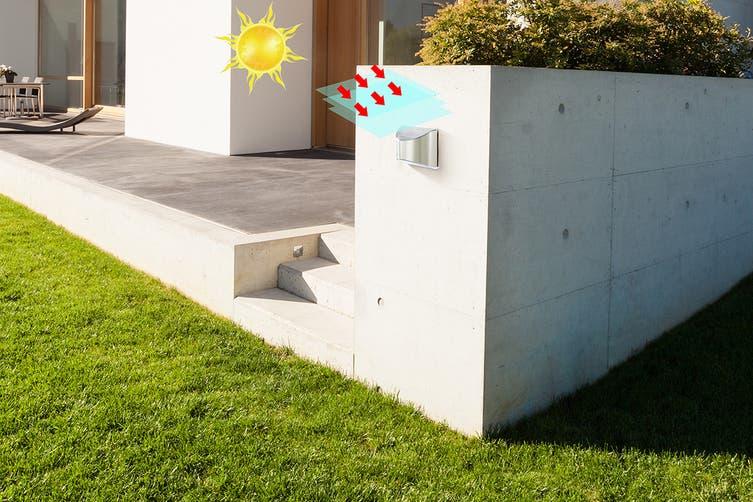Solar Powered Wall Mounted Led Light Silver Teramo 2 Pack Matt Blatt