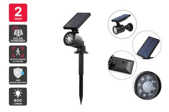 Solar Powered Motion Sensor LED Spot Light (Black, Tanimi) - 2 Pack