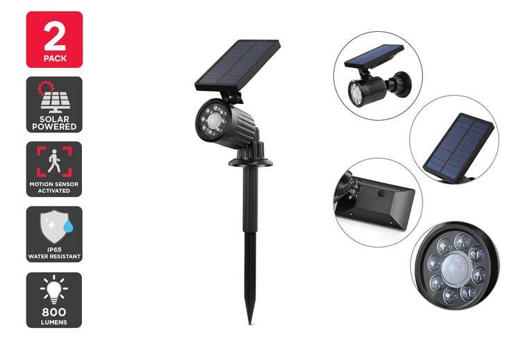 Solar Powered Motion Sensor LED Spot Light (Black, Tanimi) - 2 Pack