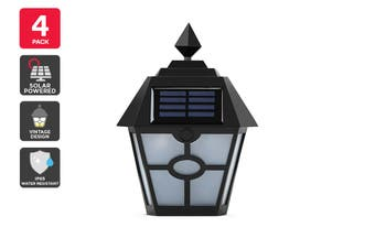 Solar Powered Wall Mounted Vintage LED Light - 4 Pack