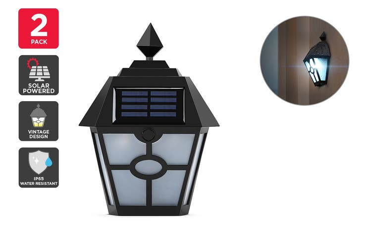 Solar Powered Wall Mounted Vintage LED Light - 2 Pack