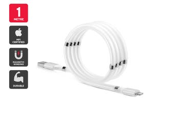 MFI Certified Magnetic Self-Winding Lightning to USB Cable (1m)