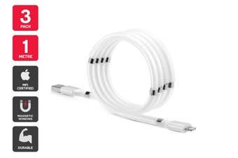 3 Pack MFI Certified Magnetic Self-Winding Lightning to USB Cable (1m)