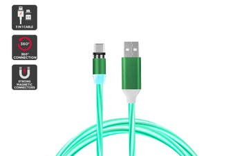 3 in 1 Magnetic Light-Up Cable (Green)