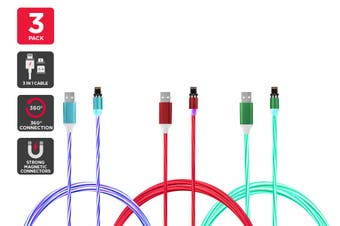3 Mixed Pack Magnetic Light-Up Cable (Red, Blue, Green)