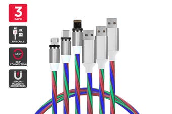 3 Pack Magnetic Light-Up Cable (Multicolor)
