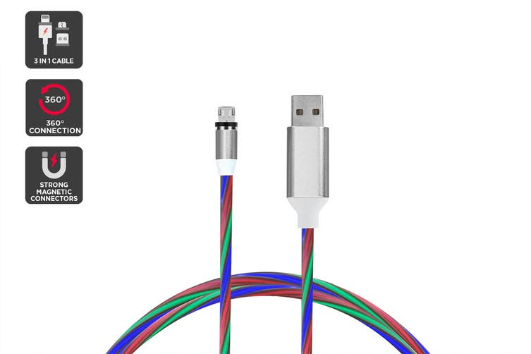 3 in 1 Magnetic Light-Up Cable (Multicolor)
