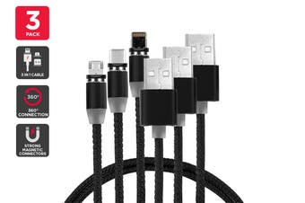 3 Pack Braided Magnetic Cable (Black)
