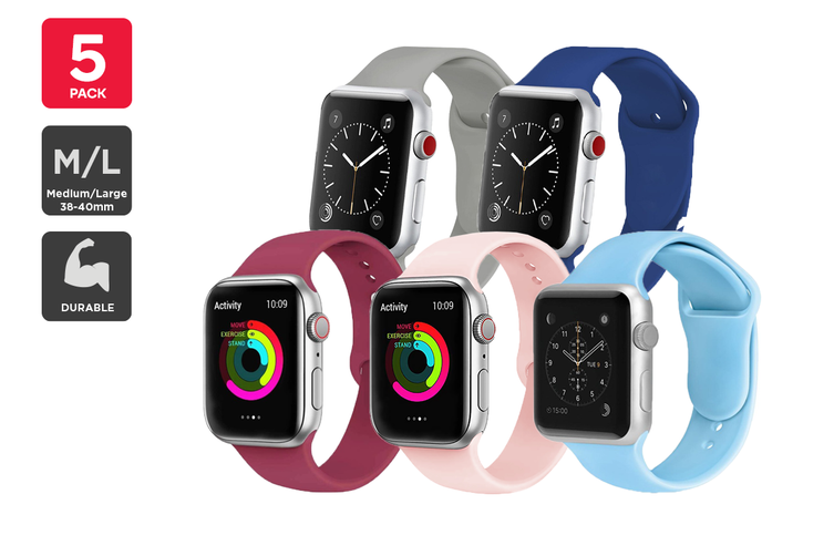 Silicone Band for Apple Watch 38/40mm M/L Mixed Pack