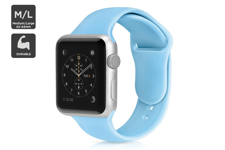 Silicone Band for Apple Watch 42/44mm M/L (Light Blue)