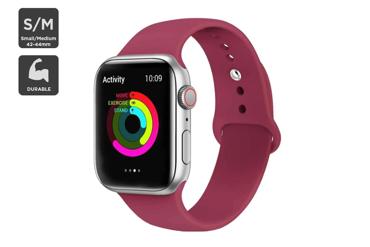 Silicone Band for Apple Watch 42/44mm S/M (Wine Red)