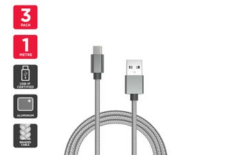 3 Pack USB Braided Type-C to Type-A Cable IF Certified (Silver) (1m)