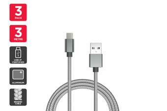 3 Pack USB Braided Type-C to Type-A Cable IF Certified (Silver) (3m)